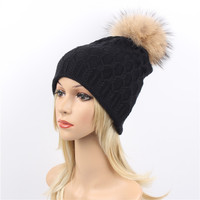Fashion Knitted Pattern Hat Beanies With Raccoon Pompom For Women Lady Crochet Winter Outdoor Warm Ear