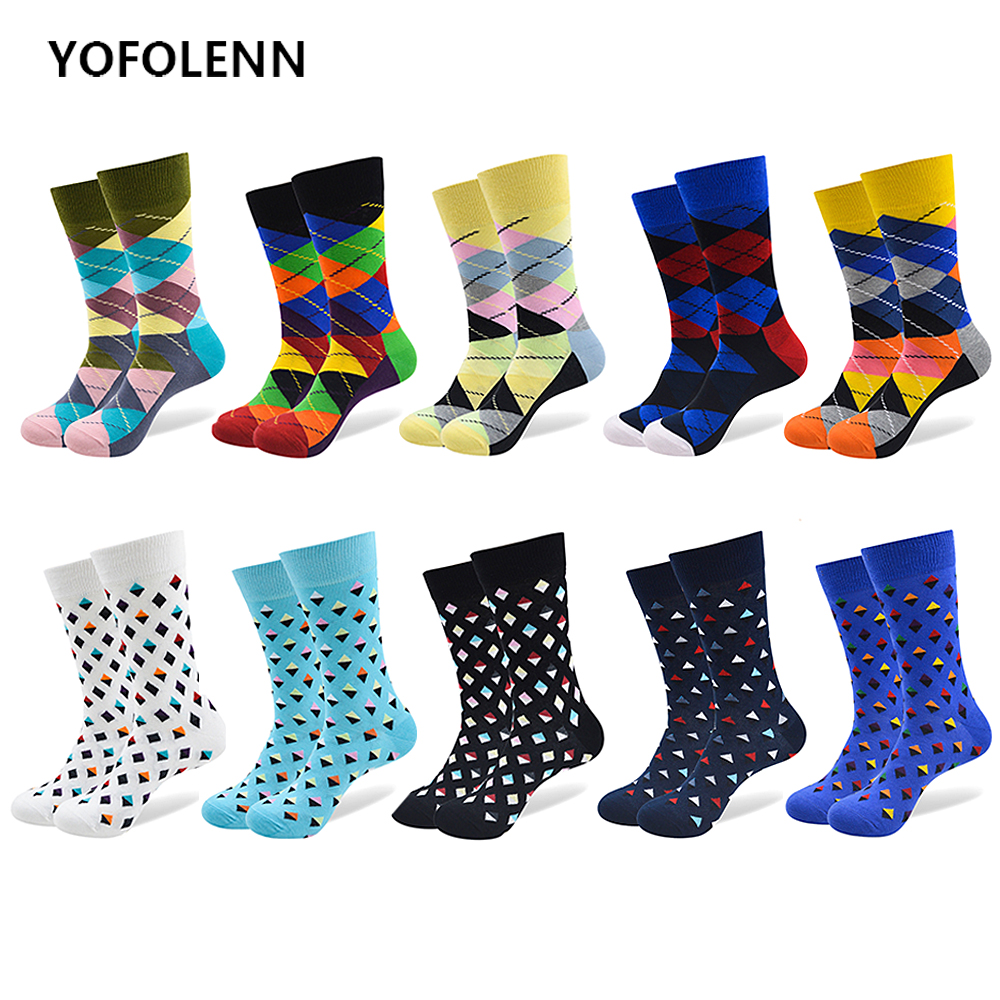 10 Pairs/Lot Mens Colorful Socks Combed Cotton with Colorful Patter Diamond Compass High Quality Happy Funny Sock US 7-10