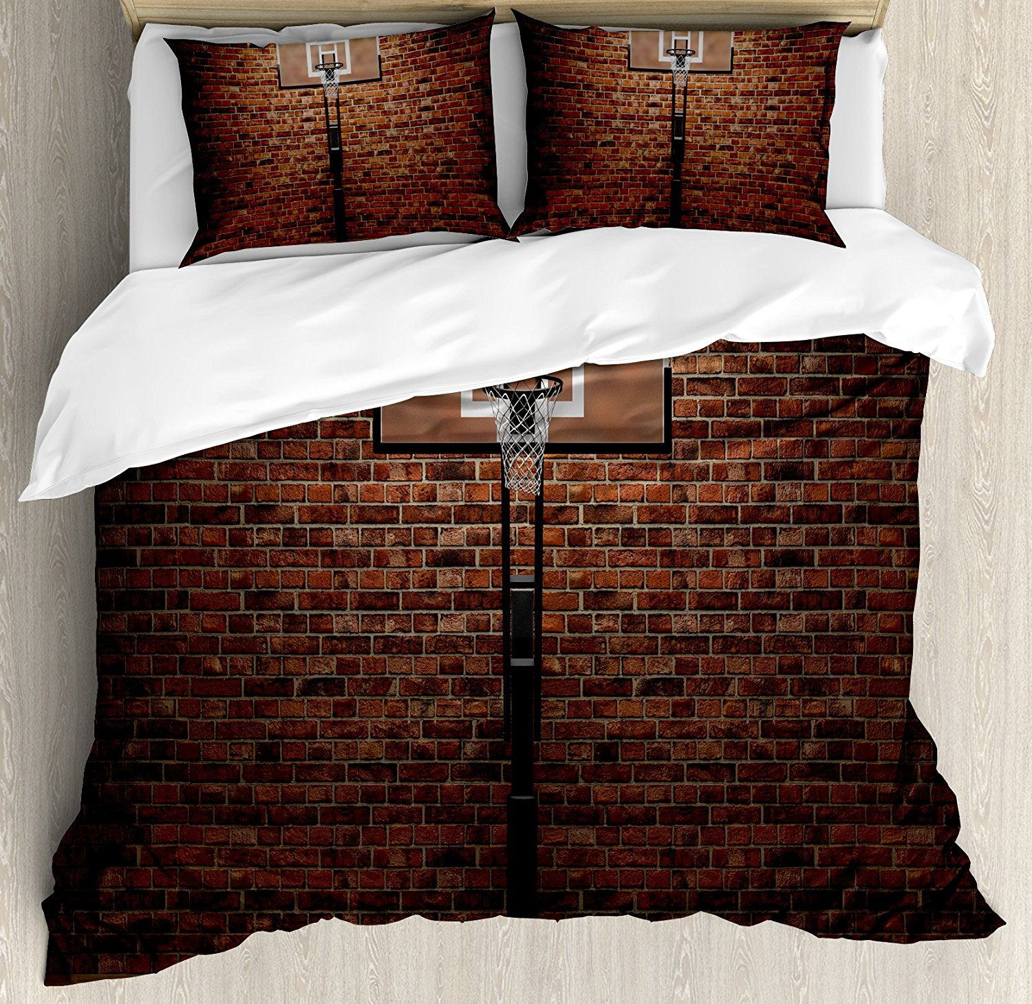 Basketball Duvet Cover Set Old Brick Wall and Basketball Hoop Rim Indoor Training Exercising Stadium Picture 4 Piece Bedding Set