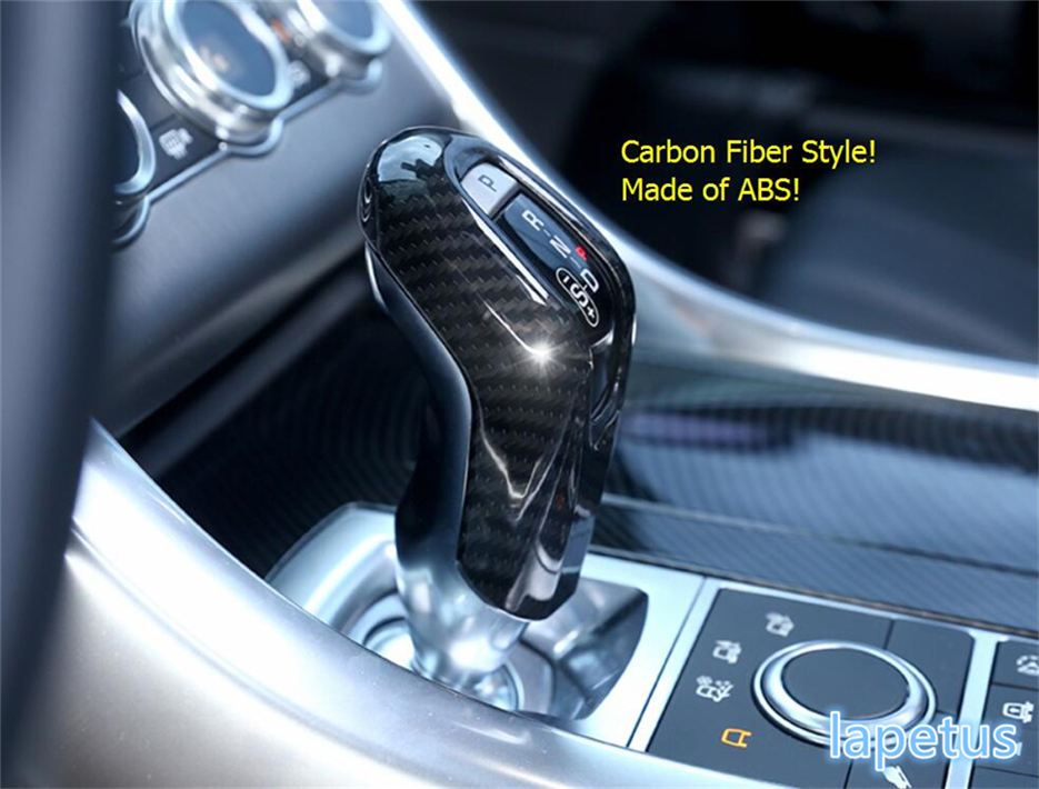 Lapetus Carbon Fiber Style Transmission Gear Stick Shift Lever Knob Decoration Frame Cover Kit For RANGE ROVER Sport 2014 2017