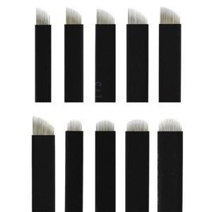 Image 1 - 나노 블랙 0.16mm 500 pcs 플렉스 12u 14u 16u 18u 21u microblading 바늘 영구 메이크업 눈썹 문신 바늘 블레이드