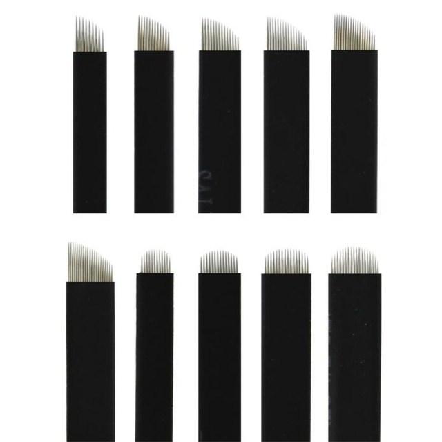 나노 블랙 0.16mm 500 pcs 플렉스 12u 14u 16u 18u 21u microblading 바늘 영구 메이크업 눈썹 문신 바늘 블레이드