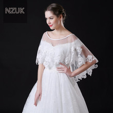 NZUK  High Quality Dotted Tulle Short Wedding Cape with Lace Hem White Bridal Jackets Wraps Custom Made