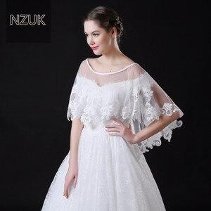 Image 1 - NZUK Высококачественная Тюлевая Короткая Свадебная накидка в горошек с кружевным подолом белые свадебные куртки обертки на заказ