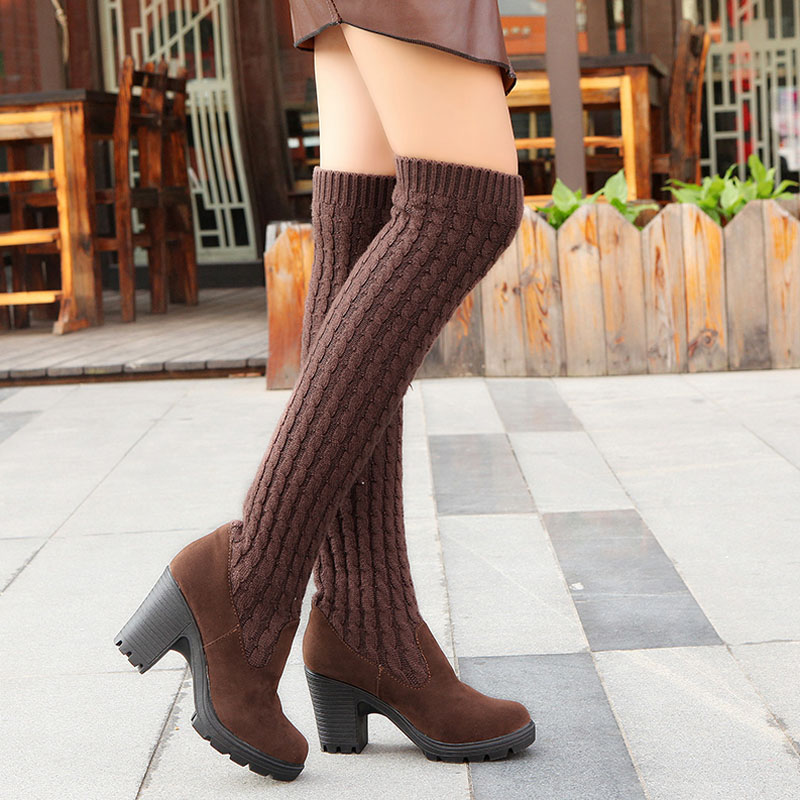 Fashion Women Boots Knee High  Elastic Slim Autumn Winter Warm Long Thigh High Knitted Boots Woman Shoes OR935432 fashion women boots knee high elastic slim autumn winter warm long thigh high knitted boots woman shoes or935432