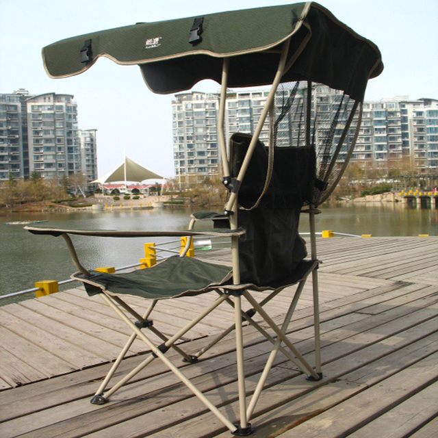Folding Chairs Sunshade Chair Fishing Beach Covered Rainproof Leisure Outdoor Portable