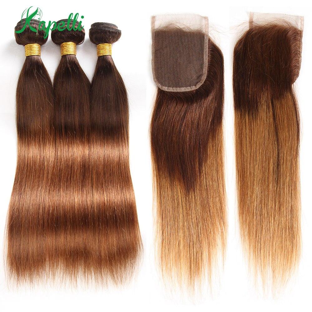 Ombre 3/4 Bundles Bundles With Closure Brazilian Straight Human Hair Bundles With Closure T4/30 Non Remy Hair Weave Extensions
