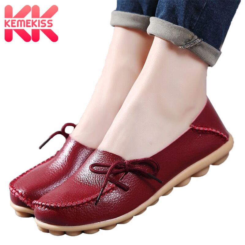 KemeKiss Women Flats 24 Color Summer Women Slipony Genuine Leather Shoes Slip On Ballet Bowtie Moccasins Flats Woman Shoes 34-44