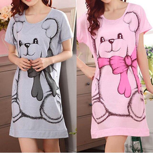 Summer vestidos Women's Nightgowns Sleeveless Short-sleeve Dress Cute Girls Cartoon Bear Sleepwear Drop ship # 1