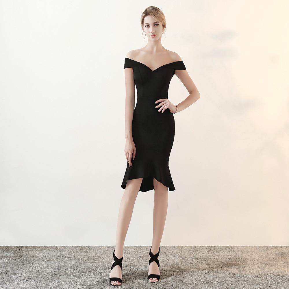 Femmes élégant Sexy épaule dénudée robe en coton noir queue de poisson Slim Slash cou Club robe célébrité soirée soirée robes de piste