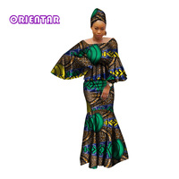 african dresses for women 100% cotton 2018 new african fashion kanga clohing baize riche 2 pieces set african clothes WY2809
