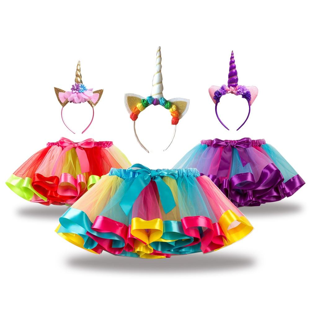Free Unicorn Headband Princess Tutu Skirt Baby Girls Clothes Rainbow Kids Party Tutu for Girls Skirts Children Ball Gown|Skirts| |  - title=