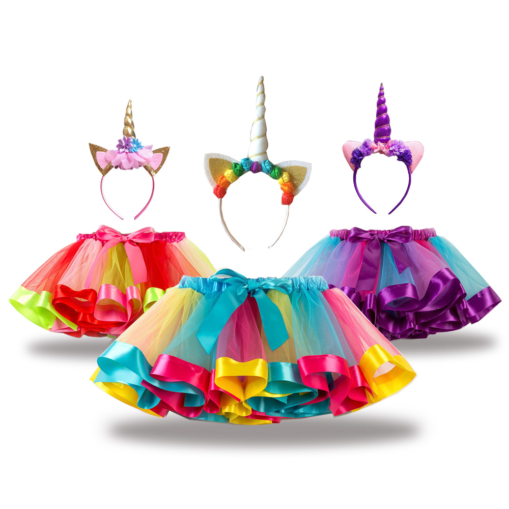 Free Unicorn Headband Princess Tutu Skirt Baby Girls Clothes Rainbow Ki