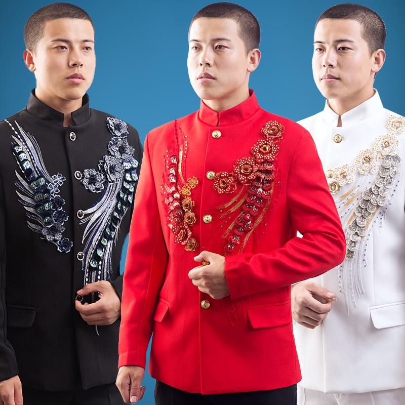 Blazer Men Formal Dress Latest Coat Pant Designs Suit Men Singer Dance Embroidered Suits For Men's Black White Red Terno Slim