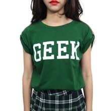 Fashion Koreanhem roll-up sleeve loose t-shirt Geek letter Women T-shirt Green Round Collar Tee Shirt New