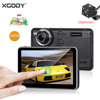 XGODY 7 Car DVR GPS Navigation Android 4.4 Dual Lens Dash Cam 16GB ROM Touch Screen 1920x1080P WiFi FM Rearview Camera Free Map