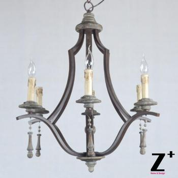 Nieuwe aankomen Zes Lampjes Elegante Lijn Vintage Hout en Ijzer Kroonluchter Gratis Verzending