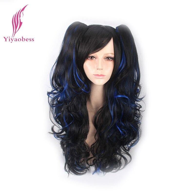 Yiyaobess 24 дюймов, черный, синий волосы подчеркивает парик хвостики два косплей синтетические волосы длинные кудрявые парики для вечеринки