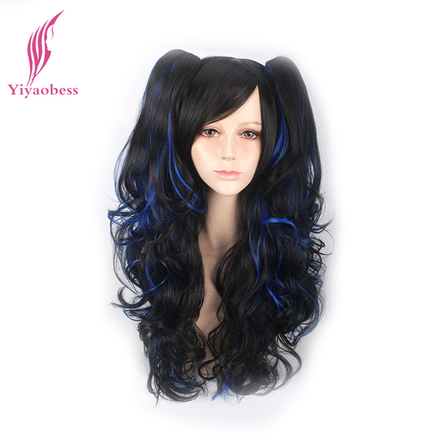 Yiyaobess 24inch Black Blue Hair Highlights Two Ponytails Wig