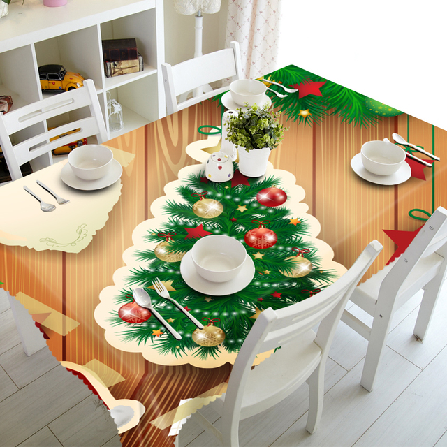 Customized Round Square Luxury Christmas Tree Decorative Cabinet Dinner Table Cloth Cover Polyester Fabric