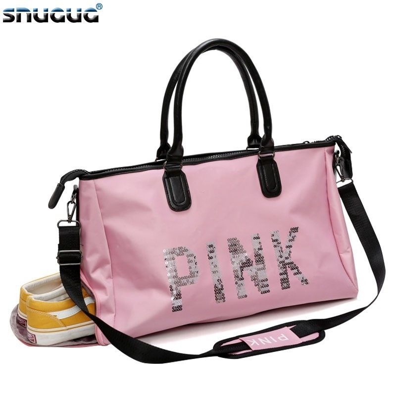 New Pink Travel Sports Bag Ladies Nylon Sport Gym Bag Women For Shoe Outdoor Big Fitness Bag 2019 Shoulder Training Yoga Bags