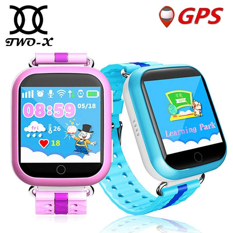 imágenes para TWOX GPS del reloj inteligente reloj teléfono Q100 Q750 reloj gps para los niños con Wifi pantalla táctil SOS Llamada de Seguros para Niños PK Q50 Q90