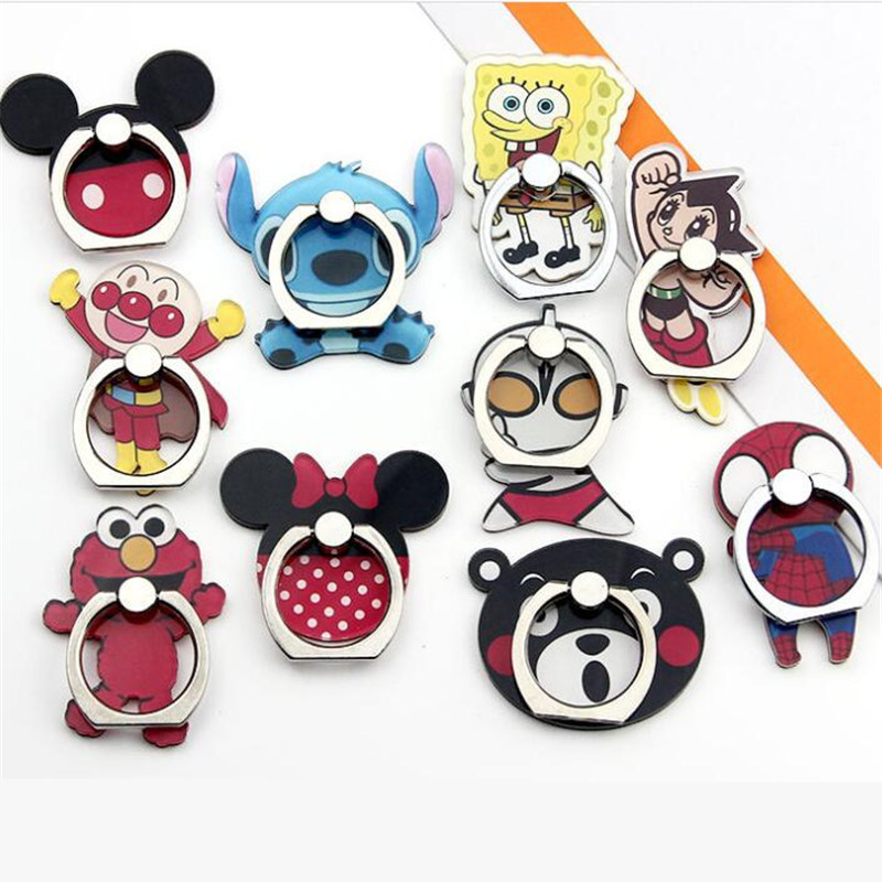 UVR Cartoon Character Phone Holder Mobile Phone Holder Stand Spider Minnie Finger Phone Ring Holder Suporte Celular For IPhone