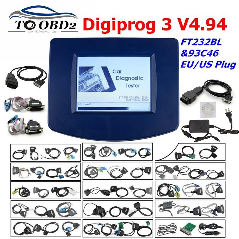 Digiprog3 Full Set Digiprog 3 V4.94 Odometer Programmer DigiprogIII Mileage Correct Tool For Many Cars With EU/US Plug