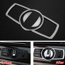 YAQUICKA 3x Car Interior Faro Capo Light Switch Button Decor Cornice Trim Sticker Per BMW Serie 5 F10 2011-2014 Styling