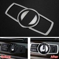 YAQUICKA 3x Car Interior Headlight Head Light Switch Button Decor Frame Trim Sticker For BMW 5