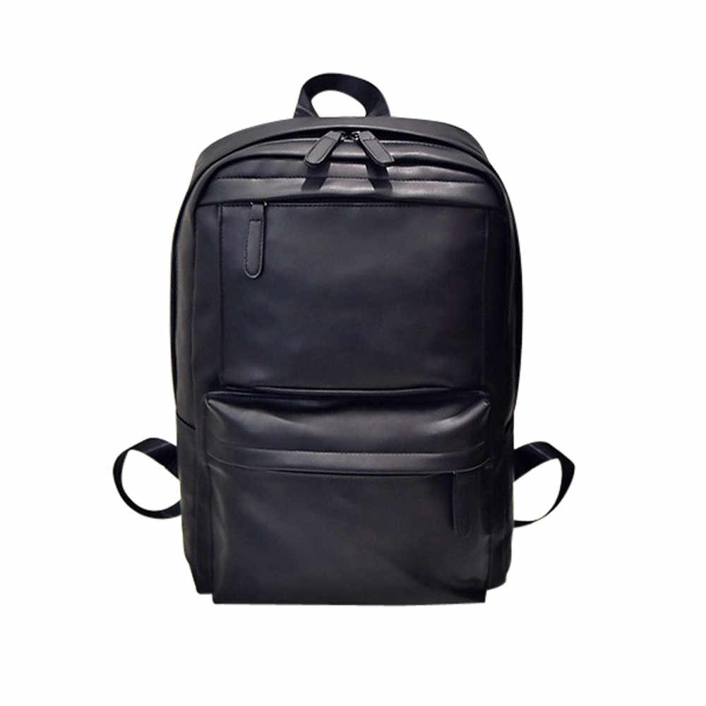 6cad1d0bbd2e Detail Feedback Questions about Men s Women s Leather Backpack Laptop  Satchel Travel School Rucksack Bag Male Luggage Shoulder Bag Computer  Backpacking on ...