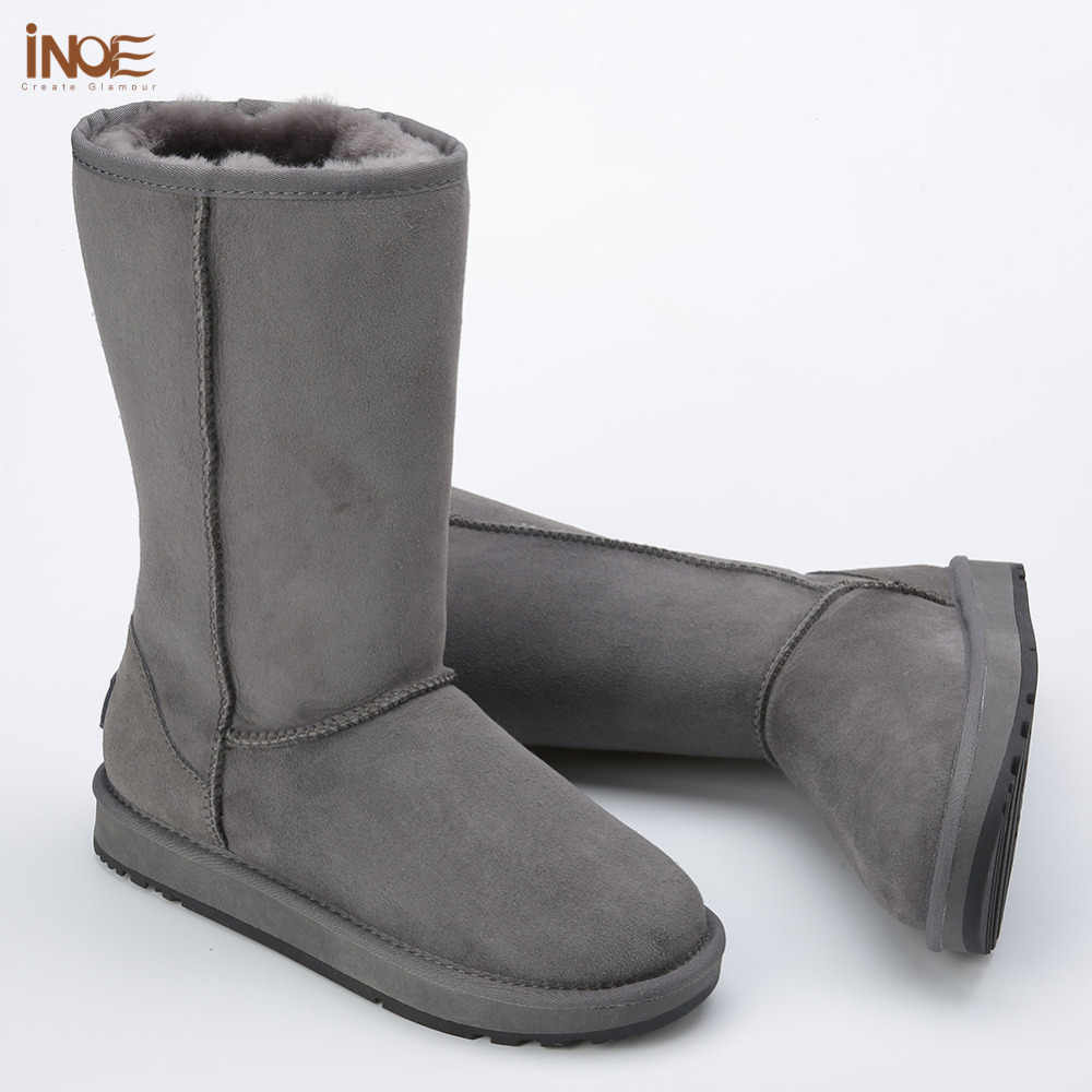 Klassieke hoge man suede real schapenleer bont gevoerde winter snowboots voor mannen winter schoenen bruin zwart rubber zool 38-44