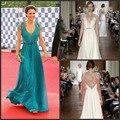 Kate Middleton Lace mangas curtas com decote em V Chiffon evento de celebridades Emerald ver através vestido de noite das mulheres vestido frete grátis