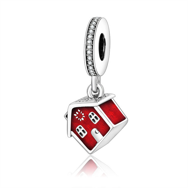 29b0c6cd0 Christmas Gift 925 Sterling Silver Delicate Red Enamel Santa's House Beads  Fit Original Pandora Charms Bracelet