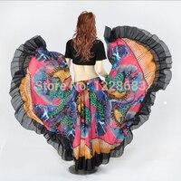 720 תואר מודפס ריקודי בטן שבטי צועני ריקודי בטן תלבושות בגדי נשים ארוכות מקסי חצאיות צועניות