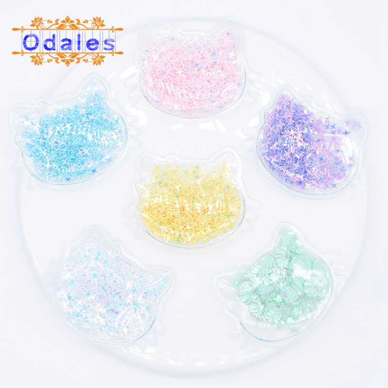 12Pcs Transparent Appliques with Colorful Cross Sequins Cat Head for DIY Hair Clip Accessories Handmade Craft Decoration