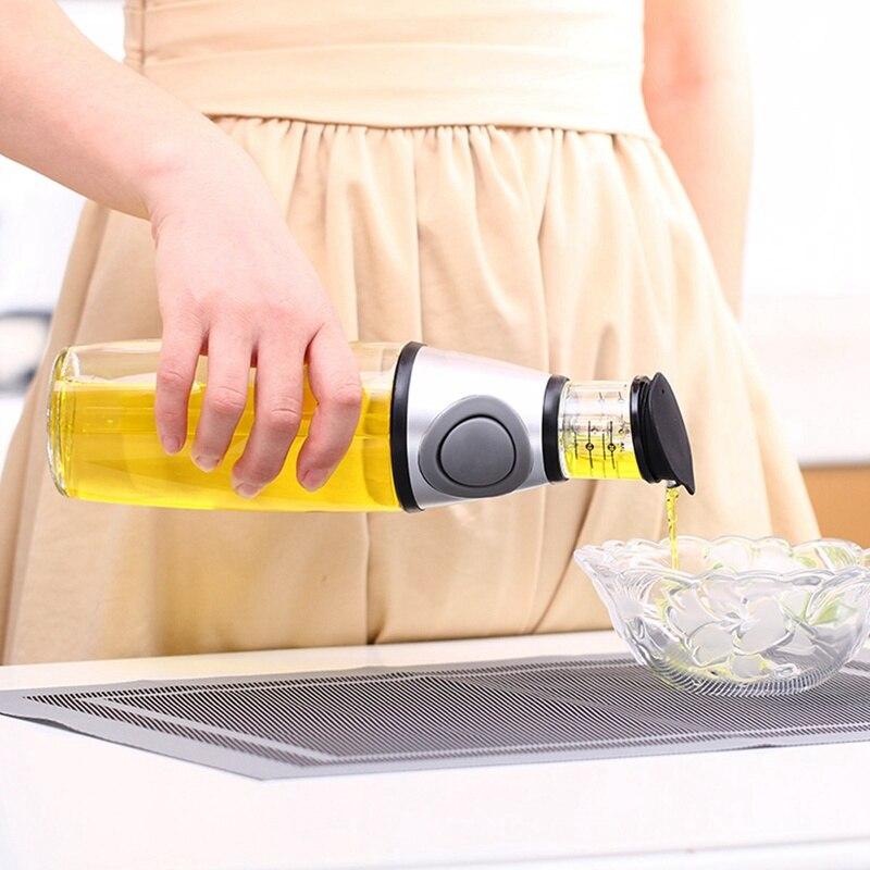 Aucun-Goutte À Goutte Bec 500 ml Cuisine En Verre Saucière Olive Huile Vinaigre Distributeur Verseur Bouteille Outils de Cuisine Vaisselle Étanche