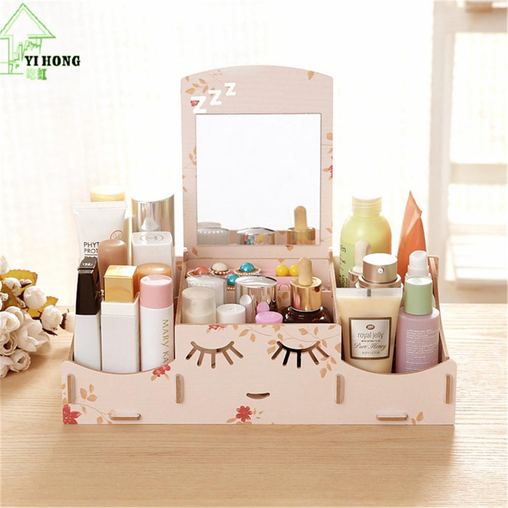 YIHONG Wooden Cosmetic Box Cute Cat Pen Box Desktop Storage Assembly DIY Wood Makeup Organizer Jewelry Storage Box A1022c