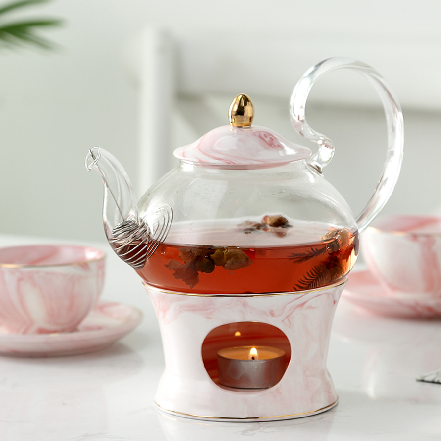 Glass Teapot With Ceramic Teapot Base Creative Marble Design Tea Pot Tool Kettle Set With Strainer And Candle