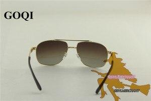 Image 4 - 무료 배송, goqi man 빈티지 금속 프레임 직사각형 편광 선글라스, 60mm 편광 된 운전 남자 uv400 선글라스,