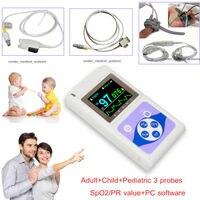 24hr Finger Pulse Oximeter Blood Oxygen Monitor SpO2 PR 3 Probes Adult Pediatric CMS60D FDA CE