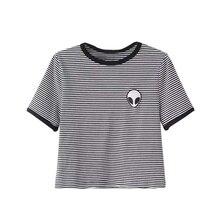 Aliens 3d Print crop top O neck Short Sleeve T Shirt