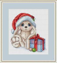 """Rankdarbiai, """"DIY Cross"""" stitch, rinkiniai siuvinėjimui rinkiniams, 11CT ir 14CT, mažųjų triušių Kalėdinė dovana"""