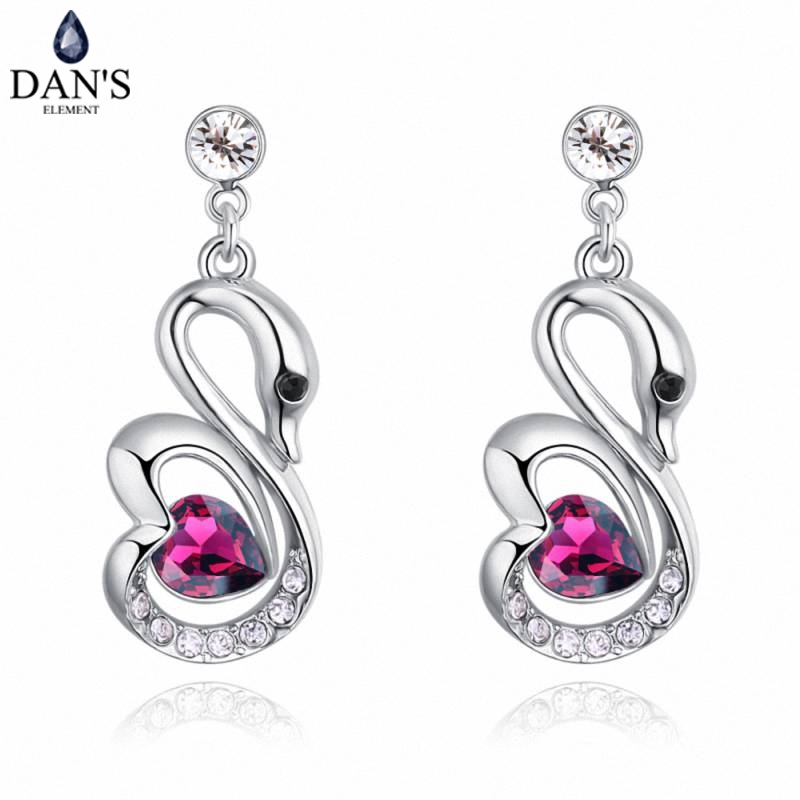 DANS 5 Colors Real Austrian crystals Stud earrings for women Earrings s New Sale Hot Round 129653