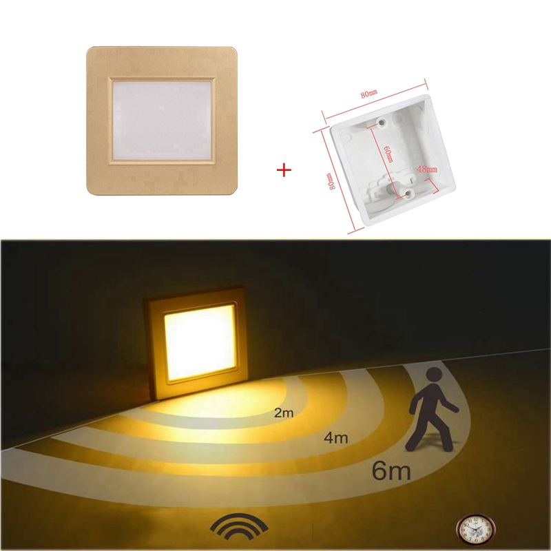 10pcs/lot  Indoor PIR Motion Sensor Led Stair Light Infrared Human Body Induction Lamp Recessed Steps Ladder Wall Lamps+86box|LED Indoor Wall Lamps| |  - title=
