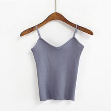 8 Colors Knitted Tank Tops Women Camisole Vest Simple Stretchable VNeck Slim Sexy Strappy New