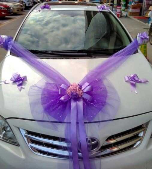 Tulle Bowknot Pe Rose Ribbon Wedding Car With Flower Decoration Sets