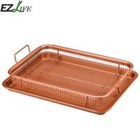 Non Stick Chips Copper Air Fryer Crisper Tray Oil Frying Basket Mesh Grill Aluminum Crisper With