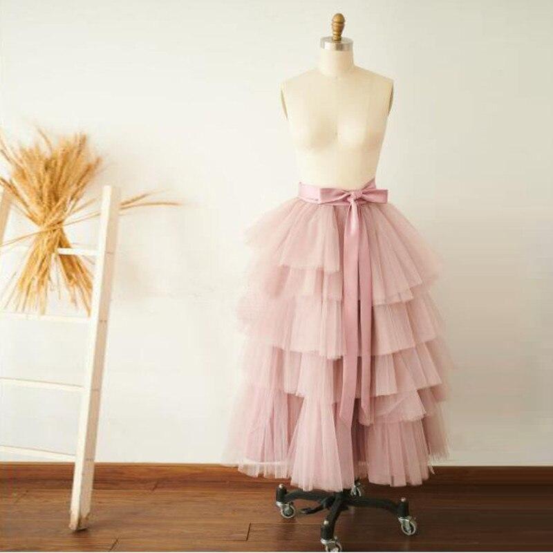 Sweet Pink Zipper High Waist Long Tulle Skirt Women Fashion A Line Mesh Tutu Skirt Chic