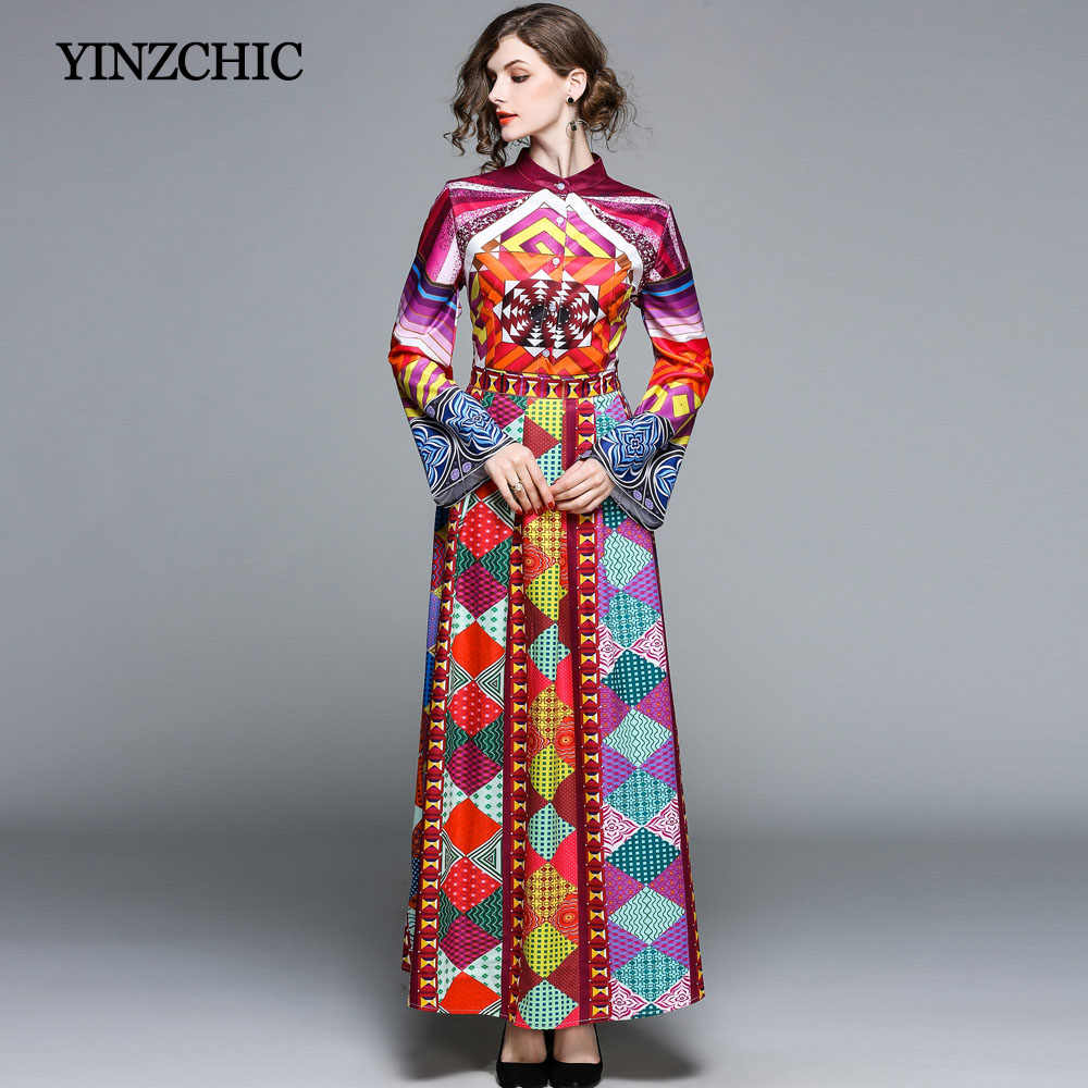 a04d2433e2bf new spring woman printed dress flare sleeve female casual long dress OL  casual maxi dress leisure